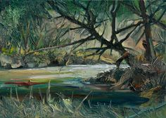 A Tree at the River, oil on canvas