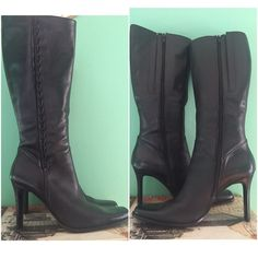 """Bruno Valenti Italian Leather Tall Boots Sz 10 In great condition gorgeous leather boots by Bruno Valenti. Couple of scratches at tow area, could be buffered with black shoe wax. Size 10. 4"""" heel. Shoes Heeled Boots"""