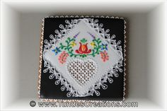 Square cookie with Hungarian folk art flowers by Tunde Dugantsi