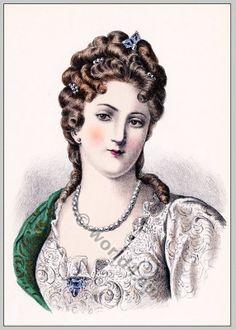 Duchesse de Bourgogne. Marie-Adélaïde de Savoie. Baroque hairstyle 17th century. Louis XIV fashion.
