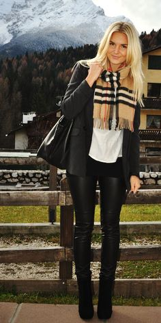 leather leggings, black blazer, black booties, and a Burberry scarf