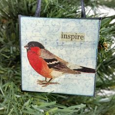 """Rosy Finch Little Bird Ornament to """"Inspire"""" you! A Red Breast Woodland Bird Miniature Art Wall Hanging created by #NaturesWalkStudio.com"""