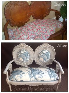Before and After Photosof Artisan Upholstery's beautiful work