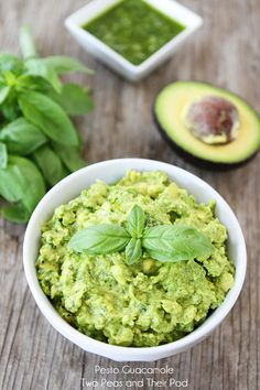 Pesto Guacamole Recipe on twopeasandtheirpod.com