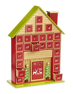 Wooden Cabin Advent Calendar | La Baie D'Hudson Christmas Baby, Christmas Time, Christmas Crafts, Xmas, Wooden House Advent Calendar, Red Home Decor, Advent Calenders, Wooden Cabins, Design Crafts