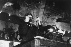 DENMARK. Copenhagen. November 27th, 1932. Leon Trotsky lecturing. By Robert Capa