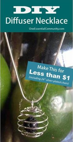 "Make your own essential oil diffuser necklace for less than a dollar (including the 24"" silver-plated chain)!!! Anyone can make these, really. click for instructions and links to supplies"
