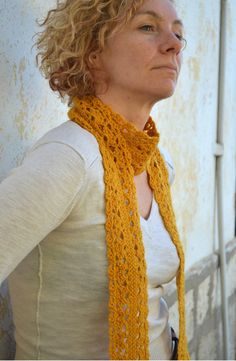 Woman's #crochet #lace #scarf mustard yellow by GrannyKnowsBest