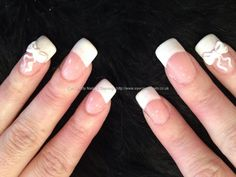 White acrylic tips with 3D acrylic bows