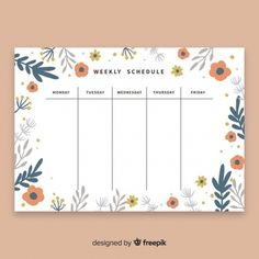 Lovely weekly schedule template with flo. To Do Planner, Study Planner, Blog Planner, Weekly Planner Template, Daily Planner Printable, Monthly Planner, Estilo Floral, Illustration Mignonne, Schedule Design