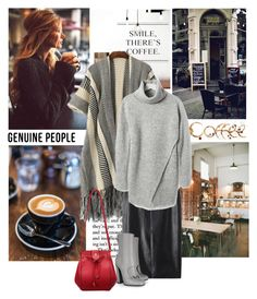 """""""Coffee, Knits, Leather, Booties, and a Pop of Red"""" by tamekab ❤ liked on Polyvore featuring Coffee Shop, Gucci, Banana Republic, genuinepeople and Genuine_People"""