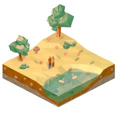 This is my first low poly isometric landscape. Cheers.