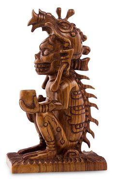 Unique Cultural Wood Sculpture, 'Maya God of Death'