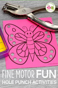 Kids love these hole punch activities. Use the printables to build fine motor skills, hand strength, and hand-eye coordination in a fun and exciting way. Fine Motor Activities For Kids, Motor Skills Activities, Fine Motor Skills, Spring Activities, Insect Activities, Primary Activities, Sensory Activities, Educational Activities, Learning Activities