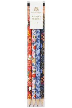 """These charming little pencils feature a pretty floral motif, with four assorted styles and three of each style included per pack. Each comes pre-sharpened and ready to use, with black erasers. These pencils are no. 2 graphite    Measurements: 7.5"""" long.   Floral Assorted Pencils by Rifle Paper Company. Home & Gifts - Gifts - Stationery & Office Boulder, Colorado"""