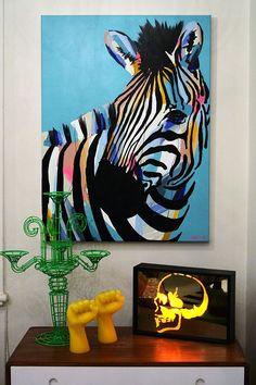 Anya Brock - love this artist Zebra Painting, Zebra Art, Painting & Drawing, Acrylic Painting Animals, Pintura Graffiti, Tableau Pop Art, Big Canvas Art, Arte Pop, Animal Paintings