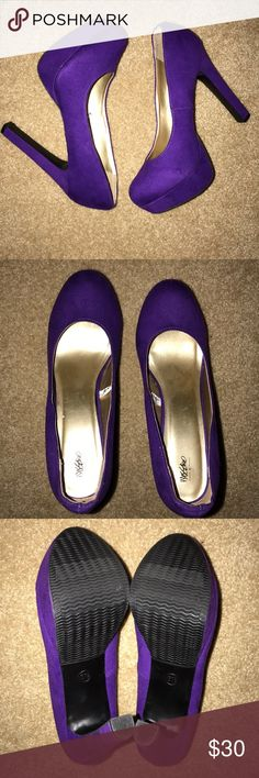 Purple heels Worn once but can't tell (see 3rd picture) Perfect condition Mossimo Supply Co. Shoes Heels