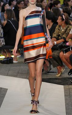 Multicolor Stripe Jacquard One Shoulder Dress by MSGM for Preorder on Moda Operandi