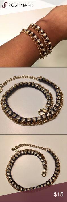 Club Monaco Wrap Bracelet Wrap bracelet with black fabric, rhinestones and gold hardware. Worn once or twice. Please make an offer! Club Monaco Jewelry Bracelets