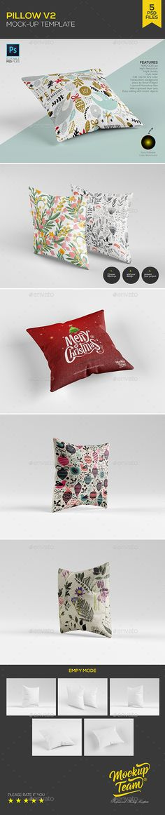 Pillow Mockup Template (5 PSD) — Photoshop PSD #mock up #bed • Available here → https://graphicriver.net/item/pillow-mockup-template-5-psd/18651806?ref=pxcr
