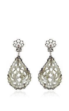 Nephrite And Diamond Earrings by Bochic for Preorder on Moda Operandi