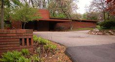 Wider angle view of the carport - Affleck House / Bloomfield Hills, Michigan / 1940 / Usonian / Frank Lloyd Wright