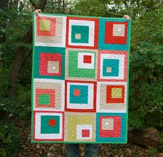 Modern Quilt  Toddler Quilt  Off Centered by FreshLemonsQuilts, @Faith Jones