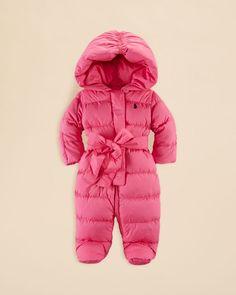Ralph Lauren Infant Girls' Channel Quilted Snowsuit - Sizes 3-9 Months