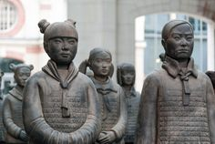 The terracata missing army. The lost daughters of China - A work by French artist, Prune Noury. It mimics the terracota army with which the Chinese emperor Qin Shi Huang was buried to protect him after life.  These girls crafted exactly like the soldiers evoke the girls who are not born due to the sexual bia in the country.