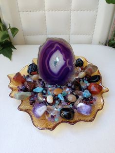 AGATE PROTECTION CRYSTAL House Kit With Gorgeous Large Agate Slab + Lots of protection Crystals.