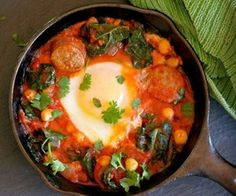 Sausage, Kale, and Tomato Ragout with Poached Eggs - Main Course #dinner #brunch #egglandsbest #recipe