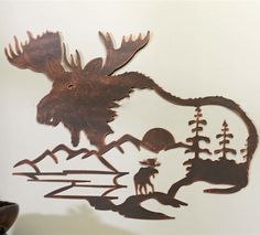 Go back to nature with this scenic moose wall art. Metal Art, Wood Art, Moose Tattoo, Animal Silhouette, Moose Silhouette, Moose Pictures, Moose Decor, Cottage Crafts, Laser Art