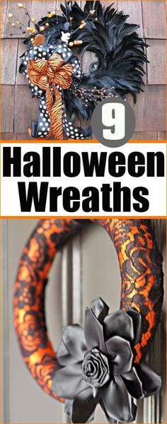 9 Halloween Wreaths.  Showcase your front door with spooky, elegant and silly Halloween themed wreaths.