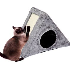a07f6b412d47 Cat Scratching Board Pad, Triangle Claw Pad Corrugated Cardboard Cat House  Toy ***