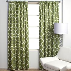Graphic green curtains