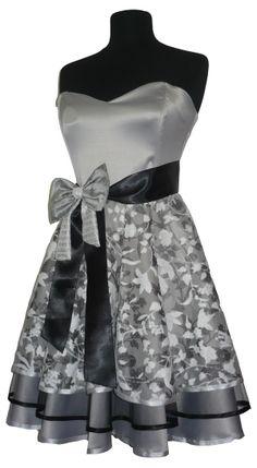 Kratka siva haljina sa čipkom i tilom