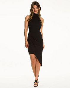 Woven Asymmetrical Open Back Dress - This sleek asymmetrical dress is a statement-making style designed with a seductive open back.