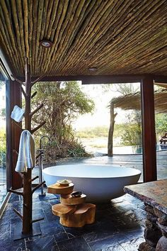 Singita Boulders Lodge is nestled in a acre wildlife refuge in the middle of Sabi Sands Game Reserve near Kruger National Park in South Africa. Indoor Outdoor Bathroom, Outdoor Baths, Outdoor Spa, Outdoor Living, Outdoor Showers, Interior Exterior, Bathroom Inspiration, Bathroom Ideas, Tulum