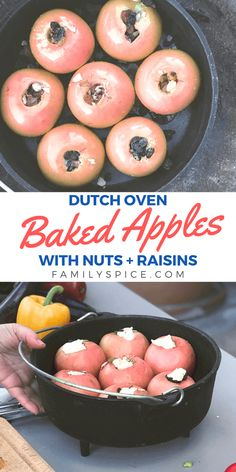 These Campfire Baked Apples are easy to make while on a camping trip. Wrap them in foil and cook in the campfire, bake in a Dutch oven, or bake them at home in your own kitchen! Best Apple Recipes, Pear Recipes, Fruit Recipes, Favorite Recipes, Fire Cooking, Cast Iron Cooking, Outdoor Cooking, Delicious Desserts, Dessert Recipes