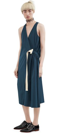 Acne Studios Chen poplin dark petrol wrap dress #AcneStudios