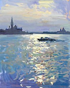 "Towards San Giorgio, Evening Light Effect - Luke Martineau British b.1970- Oil on board 20"" x 16"""