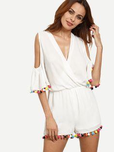 Combi-short+épaule+dénudée+avec+pompon+-+blanc++21.88
