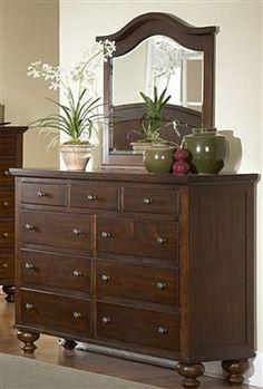 Aris Warm Brown Cherry Wood Glass Dresser