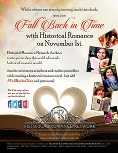On Nov 1st, be sure to join the fun as fans and authors of Historical Romance #FallBackInTime and post selfies with their first, favorite, or newest historical romance between 10 am and 12 pm CST.
