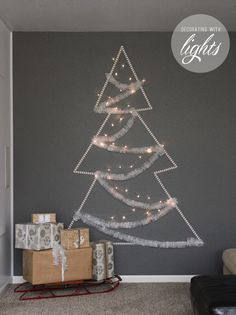 Pretty lights in the shape of a Christmas tree is a great way to decorate this holiday season!