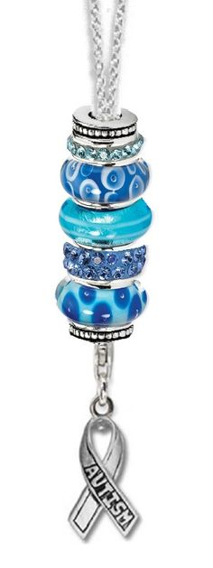 #LIUB Light it up Blue #autism Autism Awareness Blue Ribbon Bead Charm Starter Necklace