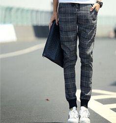 eb0fc9d3275a4 Plaid Jogger Jeans Combo Harem Pants Men