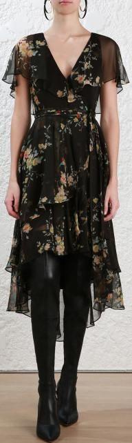 'Maples' Silk Wrap Dress