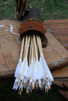 ~ Medieval Weapons ~ I love the arrows, quiver, and the wooden shields. Archery Bows, Archery Girl, Medieval Weapons, Longbow, Traditional Archery, Bow Hunting, Archery Hunting, Bow Arrows, Medieval Times