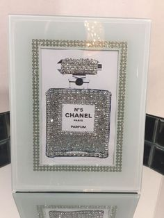 chanel no 5 bling art print in glass mirrored rhinestone crystal frame popart